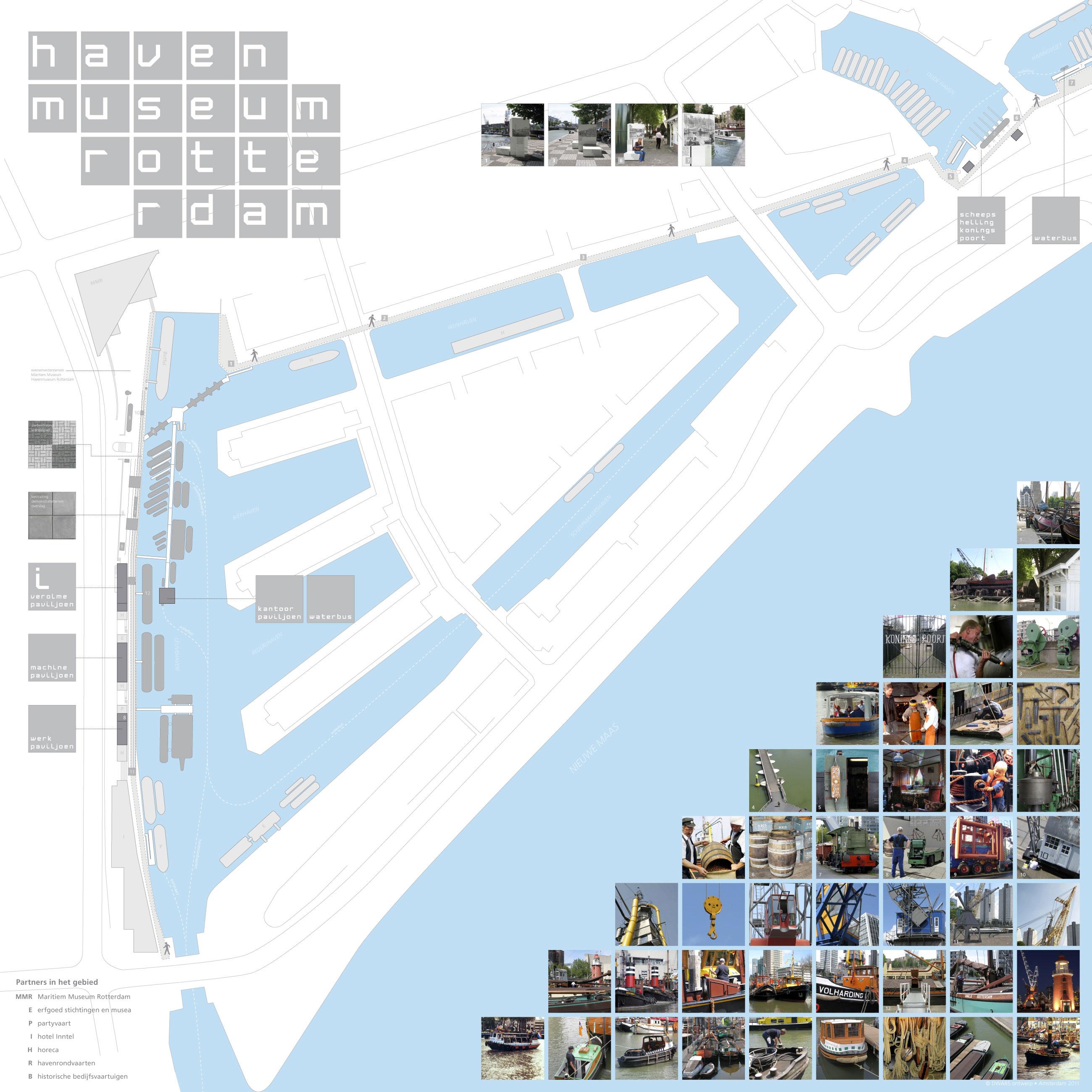 Grafisch ontwerp routekaart buitenruimte en de tentoonstelling van de maritieme collectie aan de Leuvehaven in Rotterdam.