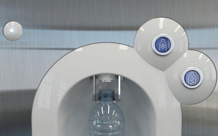 Ontwerp voor kraanwater koelers met geintegreerd beeldscherm voor scholen