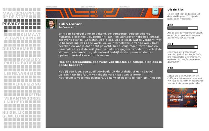 Grafisch ontwerp website bij de reizende tentoonstelling voor NUON netwerkbedrijf