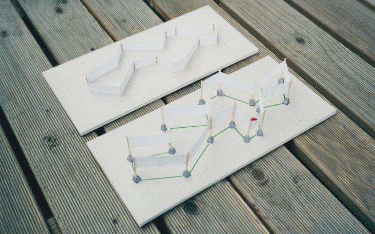 Maquette van ontwerp tentoonstelling Schiereiland Europa in Kasteel Groeneveld in Baarn